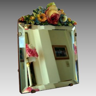 Small Barbola Vanity Mirror - Easel Style - c1930's - 1940's Vintage