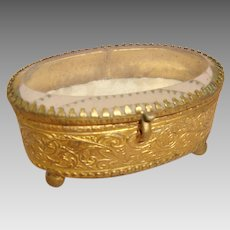 French Trinket - Jewelry Box - Bevelled Edge Glass Top - Gilded Metal