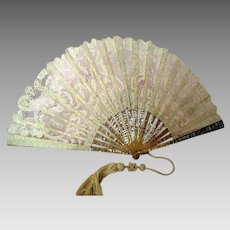 Antique Victorian Inlaid Mother of Pearl and Belgian Lace Fan with Original Tassel (Boxed)