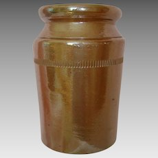 Beautiful 19th Century Salt Glazed Earthenware Pot - Jar