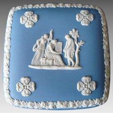 Classic Wedgwood Blue Jasperware Trinket Box - Jewelry Box - Vanity Box - Vintage