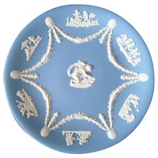 Wedgwood Blue Jasperware Decorative Plate - Cupid - Cherubs - Vintage