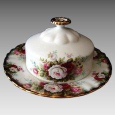 Royal Albert - Celebration / Celebration Rose - Covered Butter Dish - Vintage
