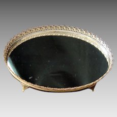 Mirrored - Filigree Metal - Oval - Footed -Dresser / Vanity Tray - Vintage