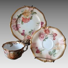 Antique Hammersley Trio - Cup - Saucer & Plate - Old Roses