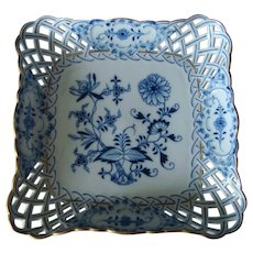 Antique Meissen Reticulated Square Tray - Blue Onion Pattern