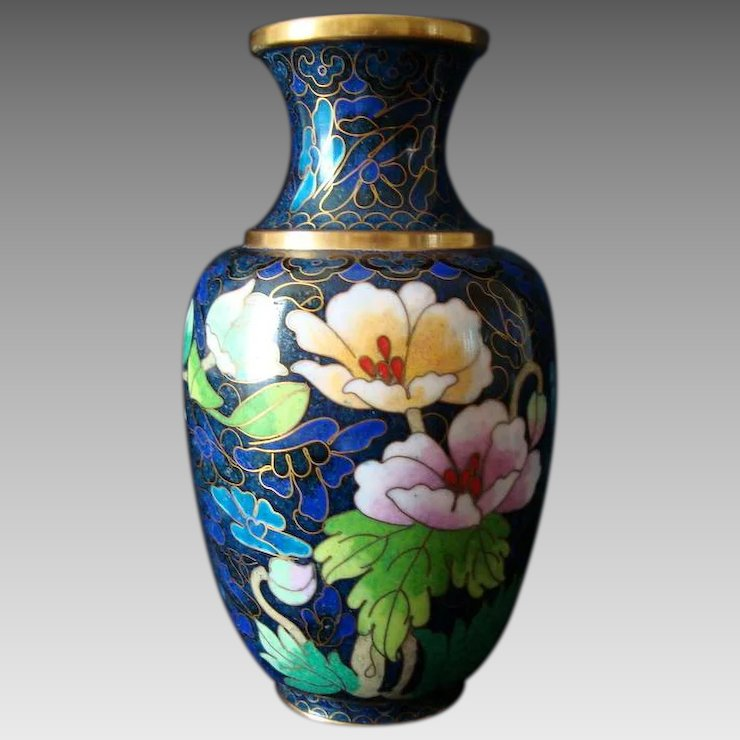 Chinese Cloisonne Vase Vintage 6 High Bella Rosa Ruby Lane