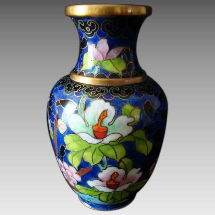 Chinese Cloisonne Vase Vintage 4 High Bella Rosa Ruby Lane