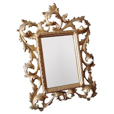 Antique Gilded Metal Photograph Frame / Framed Mirror - Table Top Style