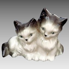 Pair of Kittens Figurine - Glazed China - Vintage