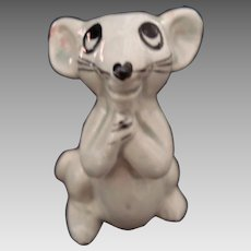 Vintage Mouse Figurine with Pleading Expression - Glazed China