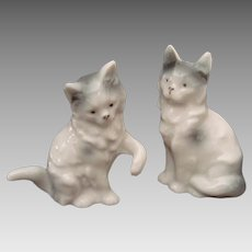 Pair of Delicately Modeled Kitten Figurines - Vintage
