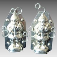 Chocolate Mold - Father Christmas - Vintage - Tin - Pair