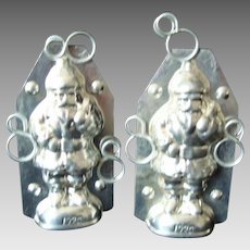 Chocolate Mold - Father Christmas - Vintage - Tin - Pair