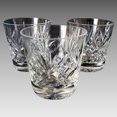 3 Vintage Royal Doulton Crystal - Whisky / Spirit - Glasses