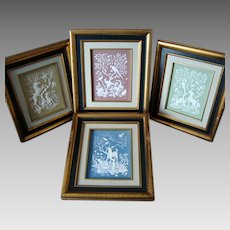 Nature's Four Seasons - Fine Art Plaques - Parian Porcelain- c1977
