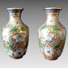 Stunning Chinese Cloisonne Vases - Pair - Vintage