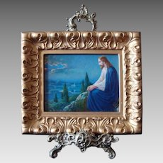Well Loved Depiction of Christ in Contemplation on Mount Olive - Vintage