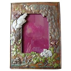 Japanese Metal Mirror - Photograph Frame - Painted and Gilded - Antique - Meiji