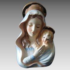 Madonna and Christ Child Candle Holder - Vintage - Japan