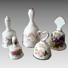 Collection of 5 Staffordshire English Bone China Bells - Vintage
