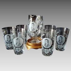 Rabbie - Robbie - Robert Burns - Ewer / Jug and 6 Glasses Set - Vintage