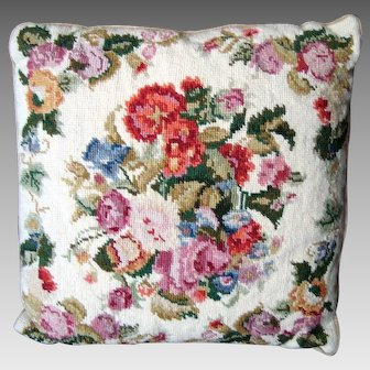Needlepoint Pillow / Cushion - Cream and Mixed Floral - Vintage