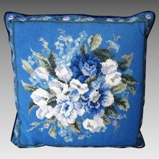 Needlepoint Pillow / Cushion - Deep Blue - Floral - Vintage