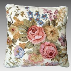 Needlepoint Pillow / Cushion - Cream and Mixed Roses - Vintage