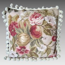 Needlepoint Pillow / Cushion - Autumnal Flowers and Fruit - Vintage