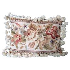 Needlepoint Pillow / Cushion - Beige Floral - Bobble Trim - Vintage