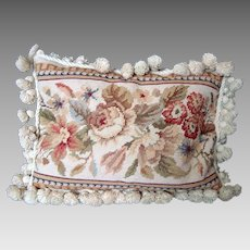 Needlepoint Pillow / Cushion - Beige Floral - Bobble Trim - Vintage