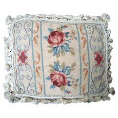Petit Point Pillow / Cushion - Beige Muted Colourway - Vintage