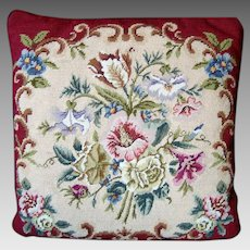 Needlepoint and Petit Pointe Pillow / Cushion - Classic Floral Design - Vintage