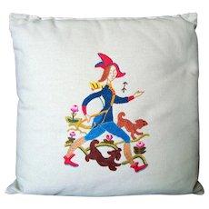 Crewel Work on Linen - Pillow / Cushion - Mid Century - Vintage