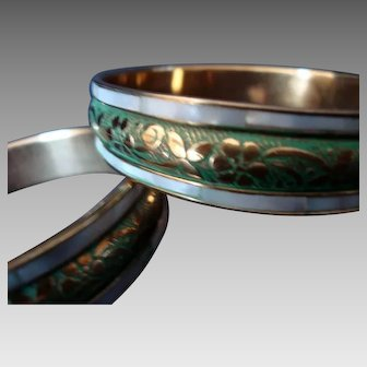 Pair -  Mother of Pearl and Brass - Bangles - Vintage