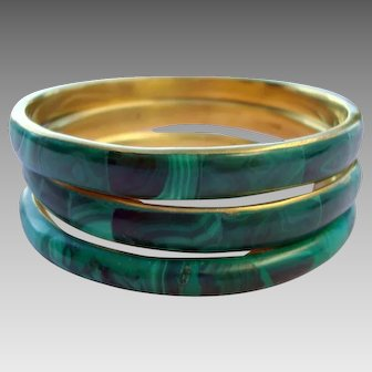 Malachite and Brass Bangles - Set of 3 - Vintage