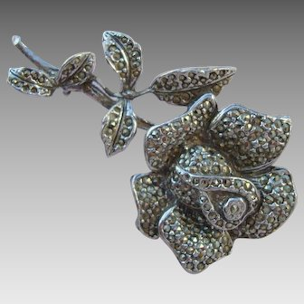 Marcasite - Rose in Full Bloom - Brooch - Pin - Vintage