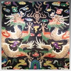 Large Rare Chinese Ch'ing Dynasty Hand Embroidered Wall Hanging