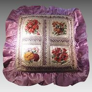 Victorian Silk Pillow/Cushion Printed Silk Floral Decoration