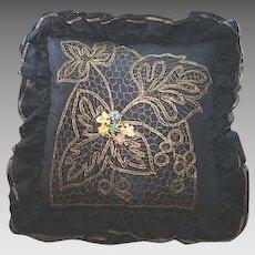 Black Taffeta Metallic Embroidered Net Bejewelled Pillow/Cushion