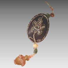 Decorated Goose Egg II Murano Glass Finial