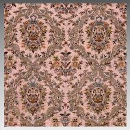 Exquisite 19th Century French Metallic/Chenille Hand Embroidery on Silk