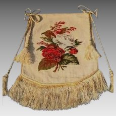 Victorian Needlepoint Banner/Face Saver/Fire Screen - 19th Century
