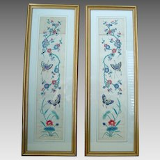Pair late 1800s Chinese Arm Bands Hand Embroidery - Framed