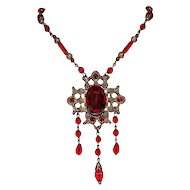 "1930""s Vintage Czech Red Glass Necklace"