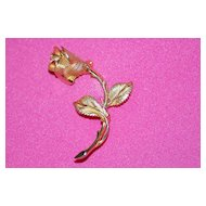 Vintage Pastelli Gold Tone Rose Pin