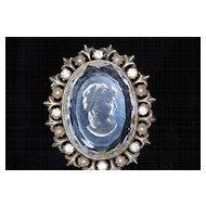 Vintage Crystal Intaglio Cameo Pin/Pendant