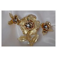 Vintage CORO Gold Tone Rose Brooch And Earrings