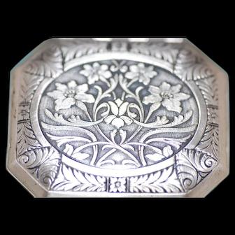 1928 Karess Woodworth Silver Plate Art Nouveau Double Vanity Book Piece